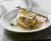 Lasagne with aubergines, gorgonzola and thyme