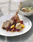 Crispy goose with red cabbage and pretzel dumplings