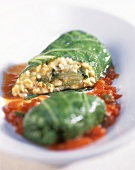Chard rolls with tomato sauce
