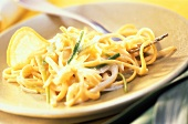 Pasta al limone (Pasta with leek and lemon sauce, Italy)
