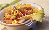 Penne with chicken and celery ragout