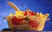 Pasta and vegetable bake in glass dish