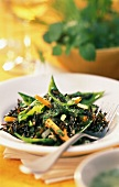 Wild rice salad with young vegetables & herb dressing