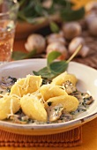 Polenta gnocchi with mushrooms, herb sauce & grated cheese