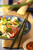 Rice noodle salad with vegetables and peanuts