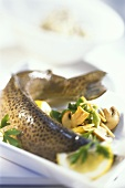 Trout with ginger, mushrooms and spring onions