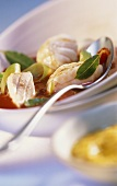 Southern French fish soup with tomatoes, bay leaf & leeks