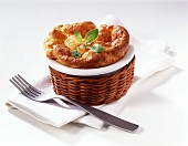 Cheese souffle in baking dish