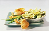 Cucumber salad with shrimp bread & spring onions (from Korea)