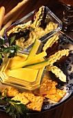 Cheshire dip, dates with Roquefort cream & crackers