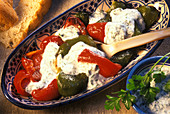 Grilled peppers with herb yoghurt