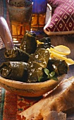 Stuffed vine leaves with flat bread (from Arabia)