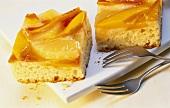 Kuchenstücke mit exotischen Früchten auf weisser Platte