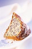 Piece of potato cake with poppy seeds & icing sugar