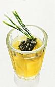Wheatgrass drink with pumpkin seeds