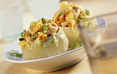 Stuffed kohlrabi with spring vegetables & peeled barley