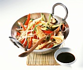 Asian wok-cooked vegetables with soy sauce