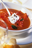 Tomato and pepper soup with juniper cream