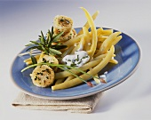 Wax bean salad with herb cakes and yoghurt