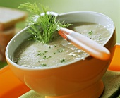 Fennel soup with fennel leaves