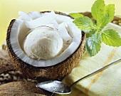 Coconut buttermilk ice cream in half a coconut