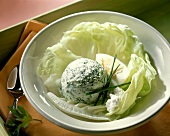 Spinach ice cream with boiled egg on lettuce