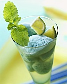 Sorbet with Blue Curacao, limes and lemon balm