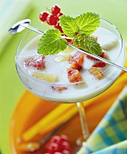 Jamaica milkshake with rum and fresh fruits