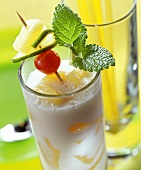 Buttermilk punch with rum and fruit