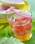 Melon punch with lemon balm leaves