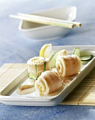 Steamed sole rolls with cucumber, tarragon and lemon