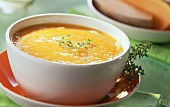 French pumpkin soup with fresh thyme