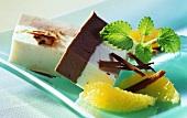 Chocolate & vanilla ice cream with oranges & grated chocolate