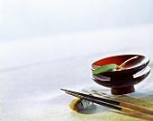 Asian food bowls and chopsticks