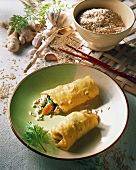 Tofu vegetable wrap with rice; garlic; ginger