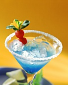 Cocktail with Blue Curacao in glass with sugared rim