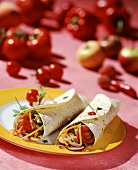 Spicy vegetable wraps with turkey