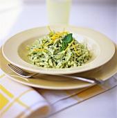 Basil pasta with lemon zest