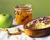 Quark apple pudding with apricot compote