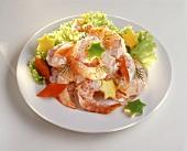 Shrimp salad with carved citrus fruits