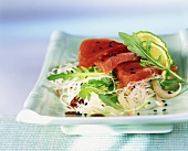 Glass noodle salad with tuna sashimi and rocket
