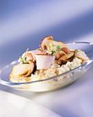 Risotto ala cacciatora (Cep risotto with rabbit fillet)