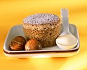 Chestnut soufflé with wine mousse