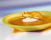 Sweet potato soup with coconut mousse