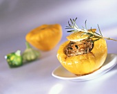 Mini-patty pan squashes stuffed with minced lamb