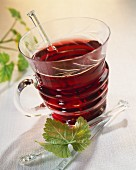 Red wine punch with blackcurrant liqueur and rum
