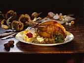 Roast pheasant with sweet chestnuts and mashed potato