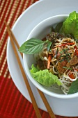 Beef on rice noodles with fresh herbs (Bo Bun)