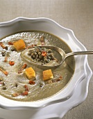 Cream of lentil soup with chili rings and croutons
