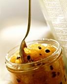 Kumquat and passion-fruit jam in jar